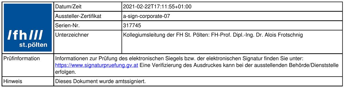 Elektronische Signatur der FH St. Pölten - bei Klick darauf kommen Sie zu einer Website, auf der die Signatur geprüft werden kann