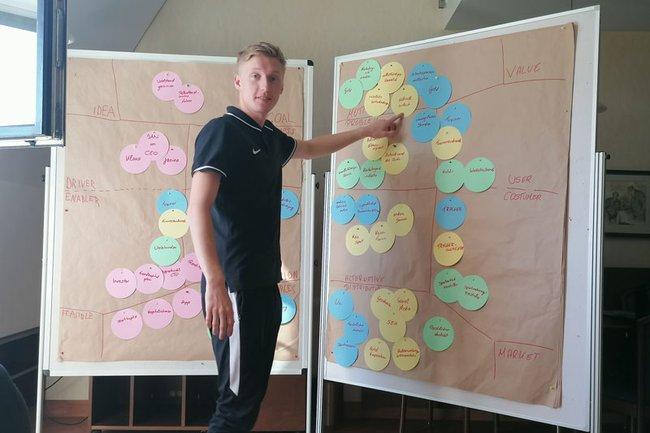Teilnehmer der Summer University München bei einer Präsentation