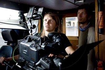 """Dreharbeiten auf dem Schiff """"Arctic Janus"""" zum Film """"Nicht der Süden"""""""