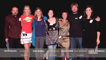 Preisträger beim Science Slam in Brüssel im Rahmen der European Researchers's Night