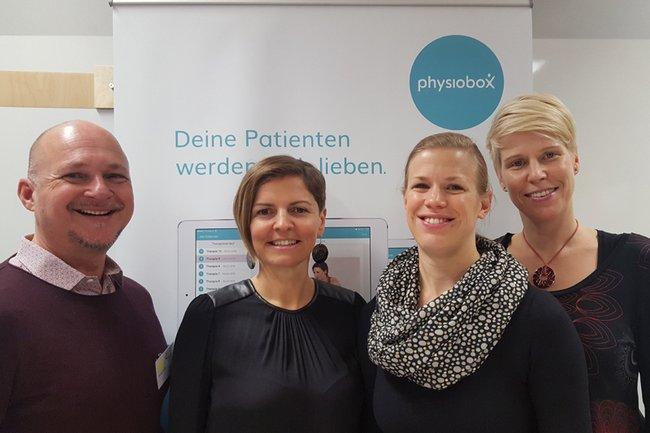 Das Team des Studiengangs Physiotherapie: Andreas Stübler, Kerstin Lampel, Anna Gorgas, Barbara Wondrasch