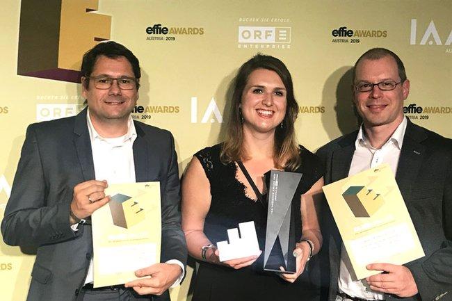 Helmut Kammerzelt, Rebecca Rainer, Harald Wimmer bei der Effie Gala 2019