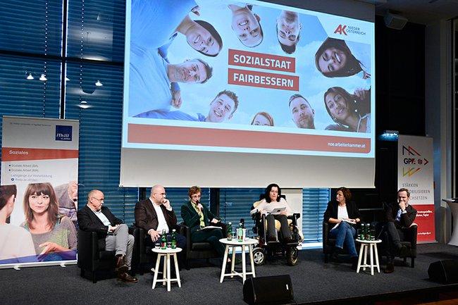 Nikolaus Dimmel, Markus Hofmann, Christine Mayrhuber, Moderatorin Dorothea Brozek, Agnes Streissler, Franz Schellhorn