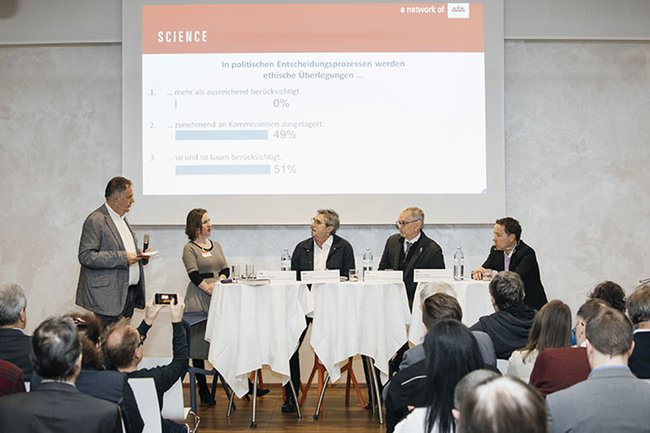 (v.l.n.r.): Moderator Christian Müller mit den Podiums-Gästen Barbara Prainsack, Johann Čas, Lukas Kenner und Michael Litschka