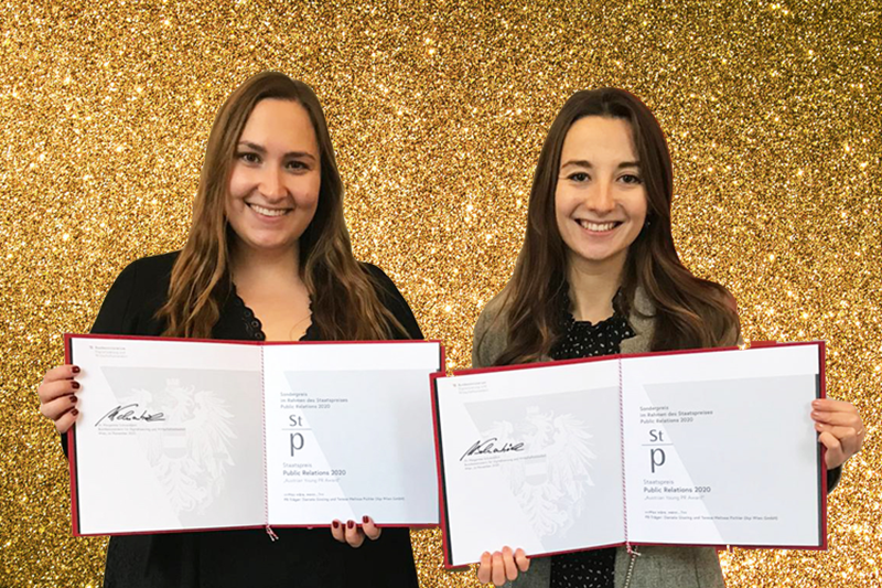 Austrian Young PR Award 2020- Gewinnerinnen Daniela Gissing und Teresa Melissa Pichler