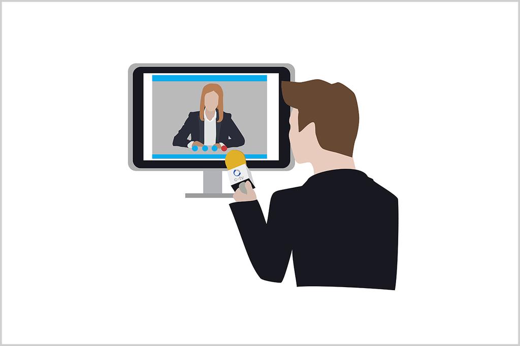 c-tv goes Remote: Grafik von einem Mann vor dem Bildschirm - er hält der Frau auf dem Bildschirm ein Mikrofon hin