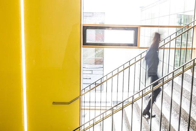 Symbolbild für ein Start-up: Eine Person geht die Treppen der FH St. Pölten hinauf