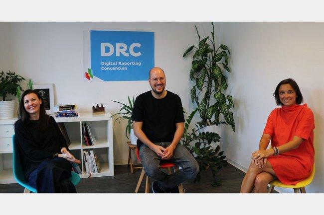 Monika Kovarova-Simecek, Eloy Barrantes, Stéphanie Mittelbach-Hörmanseder bei der dritten Digital Reporting Convention 2020