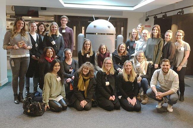 Die Studierenden-Gruppe des Masterstudiums Media- und Kommunikationsberatung vor Ort bei Google in Dublin.