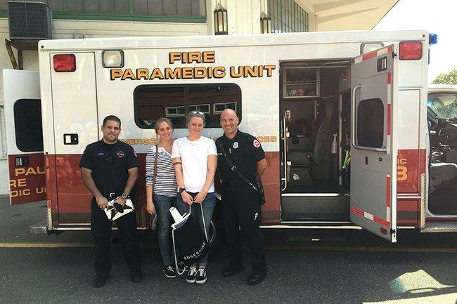 Studierende der FH St. Pölten beim Besuch der Fire Paramedic Unit in St. Pauls.