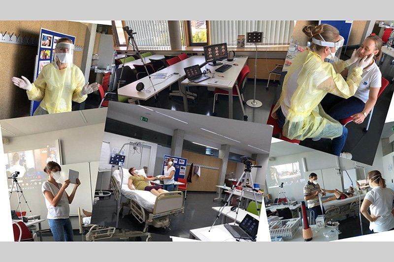 Dozent*innen vor der Kamera (Angela Beier, Lisa Brunhuber, Eva-Maria Freiheim, Julia Glösmann, Manuel Kaider, Sandra Vyssoki)