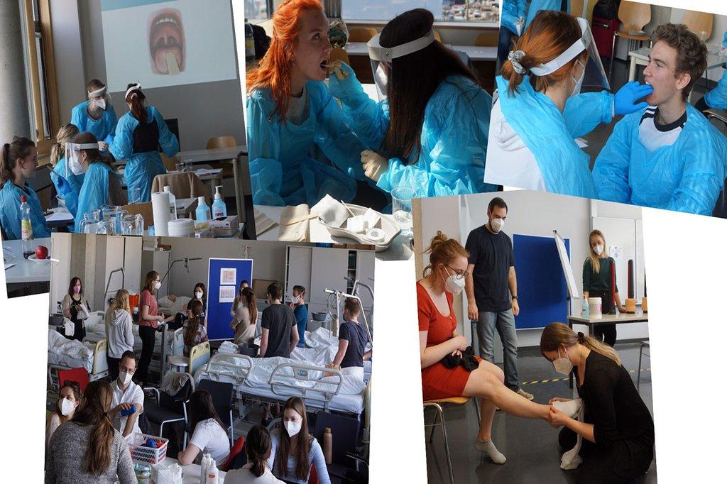 Collage aus verschiedenen Fotos von Studierenden bei praktischen Übungen