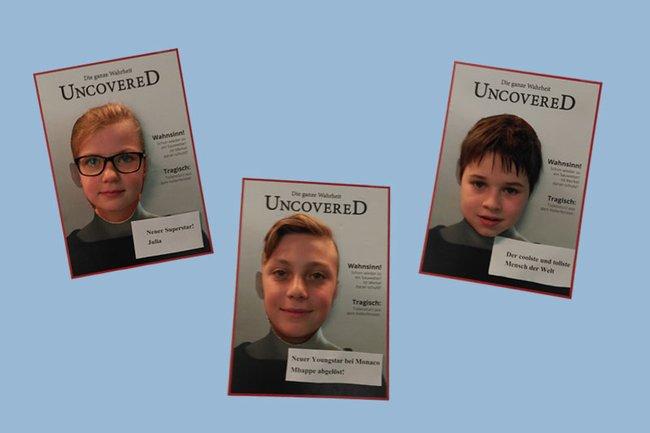 Selbstgestaltete Cover der jungen Teilnehmerinnen und Teilnehmer bei der Kinder Business Week