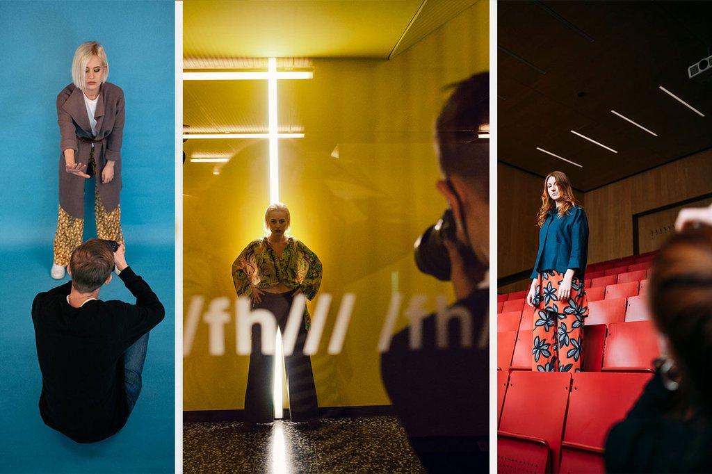 Collage aus verschiedenen Modefotos, die die Studierenden angefertigt haben