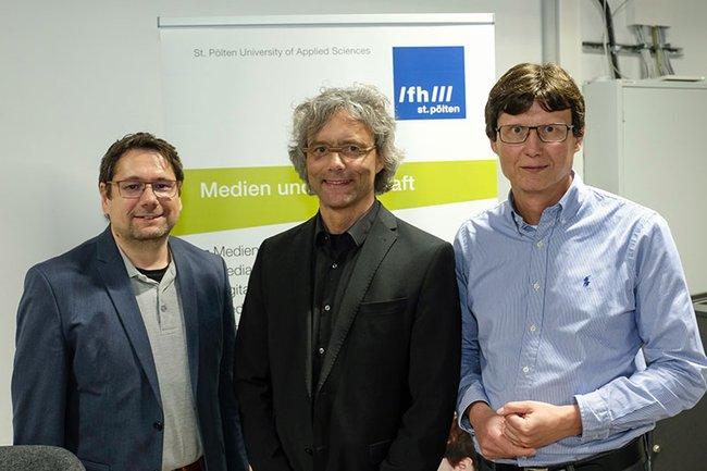 Die Vertreter der FH St. Pölten beim Digital Fairness Dialog (v.l.n.r.): Helmut Kammerzelt, Hannes Raffaseder, Harald Rametsteiner