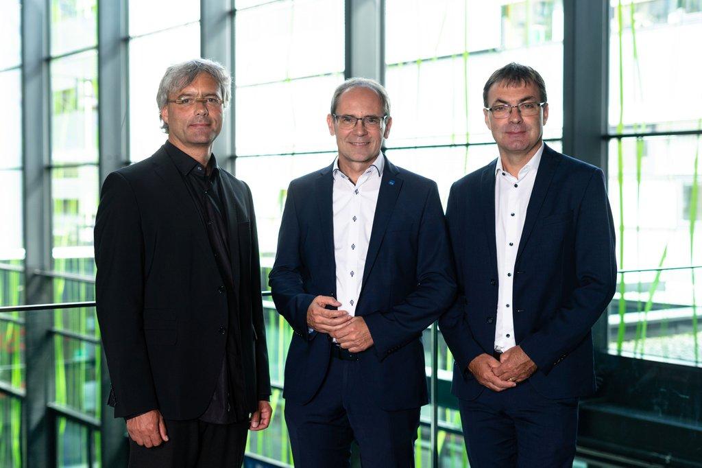 Die Geschäftsführung der FH St. Pölten (v.l.n.r. Hannes Raffaseder, Gernot Kohl, Johann Haag)