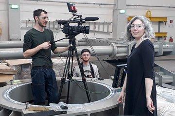 Fotos vom Dreh: mit Lukas Zeiler (Kappe), Johannes Winkler und Franziska Bruckner