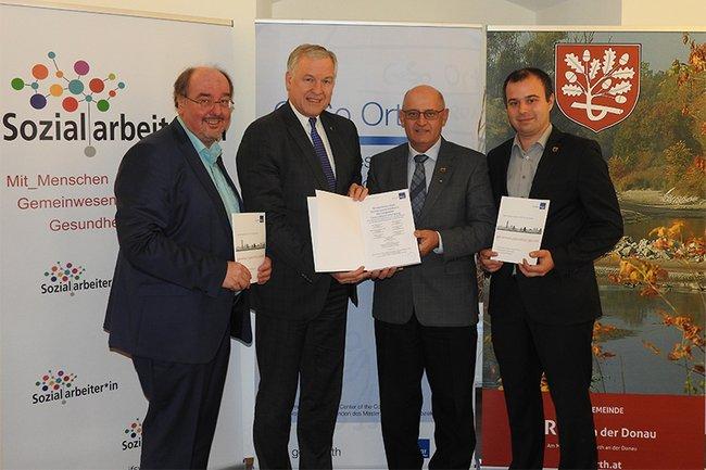 Projektleiter Christoph Redelsteiner, Landesrat Martin Eichtinger, Bürgermeister Johann Mayer, Gemeinderat Markus Bauer