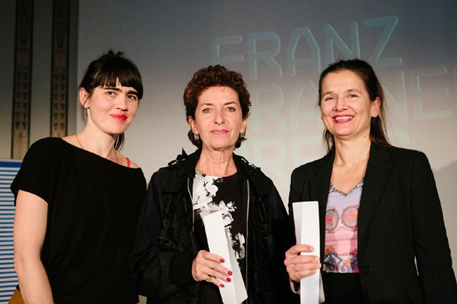 Krisztina Kerekes, Ruth Beckermann und Karin Berghammer bei der Preisverleihung
