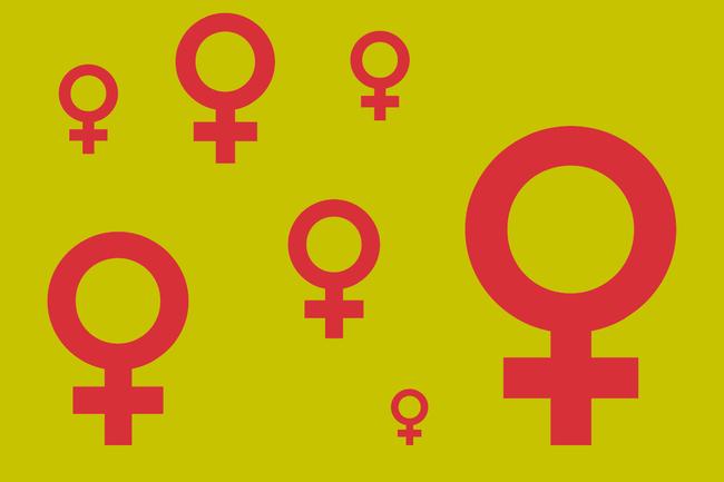 Mehrere Frauensymbole in Rot auf einem gelben Hintergrund