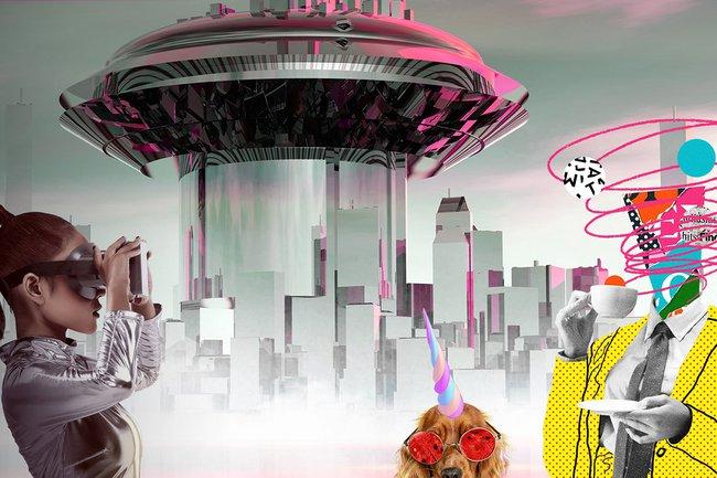 Collage: Im Hintergrund eine futuristisch aussehende Stadt, im Vordergrund links eine Frau mit silbernem Anzug und Virtual Reality Brille