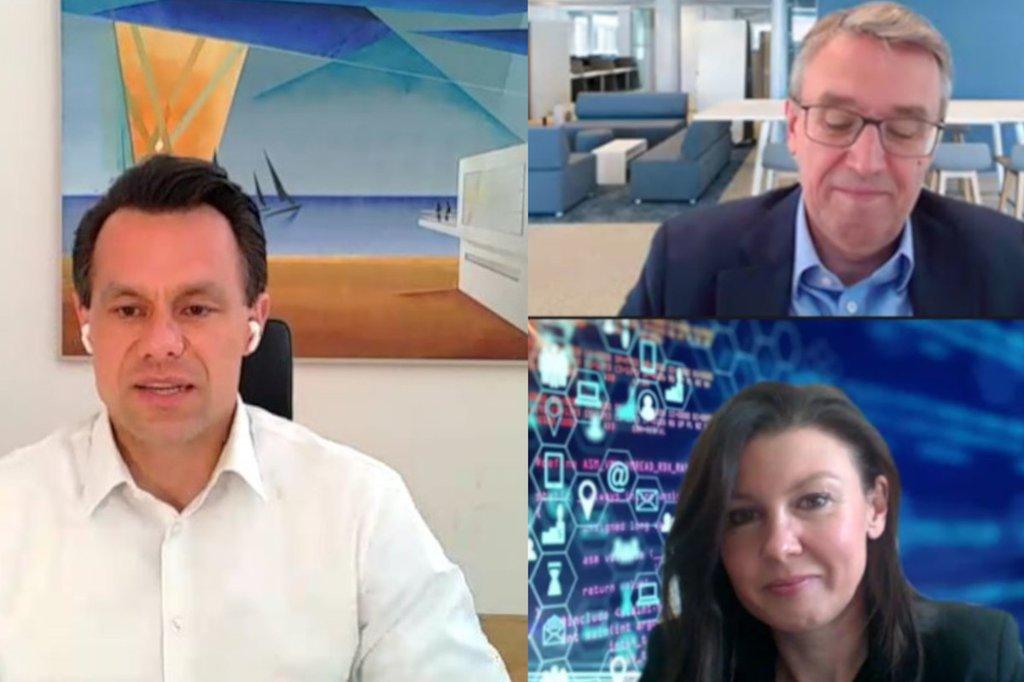 Collage aus Screenshots der Vortragenden: Christoph Boschan (links), Harald Hagenauer und Monika Kovarova-Simecek