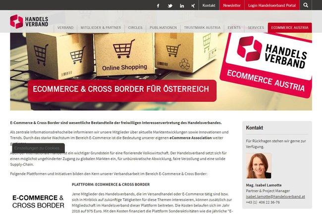 Screenshot Website Handelsverband