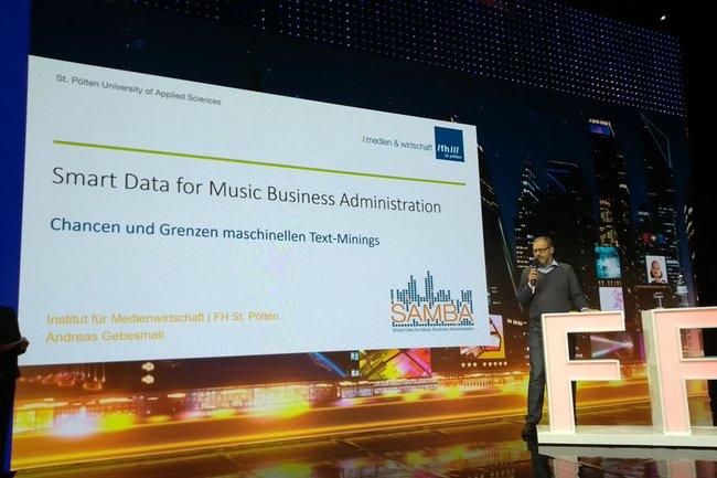 Andreas Gebesmair bei seinem Vortrag beim FFG-Forum