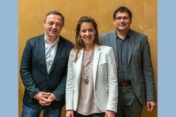 v.l.n.r. Alexander Tarzi (Infineon), Katharina Swoboda (Siemens) und Helmut Kammerzelt (FH St. Pölten, Bachelor Media- und Kommunikationsberatung)
