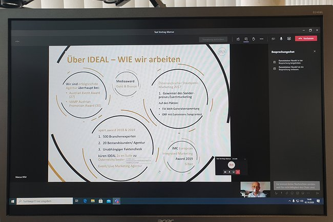 """Online Lehrveranstaltung """"Integrierte Kommunikation"""" im Lehrgang Eventmanagement mit Gastvortrag von Marcus Wild"""