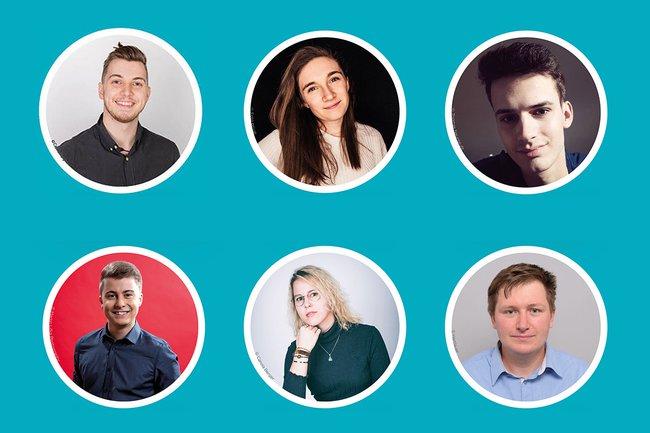 Grafik, auf der die 6 Teilnehmer*innen des Live-Talks jeweils in einem Kreis zu sehen sind