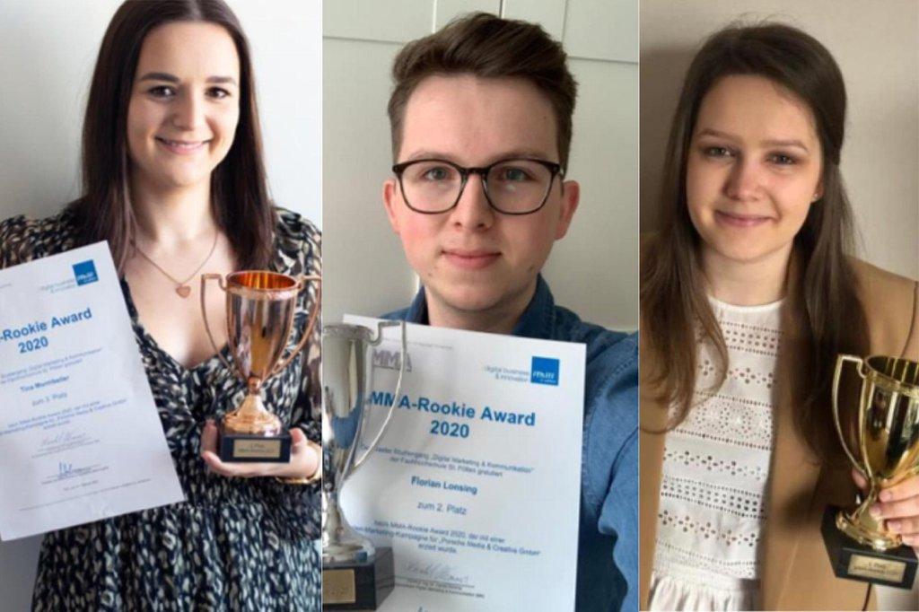 Gewinner*innen des Rookie Award 2020, (v.l.) Tina Montibeller, Florian Lonsing, Daniela Pulz