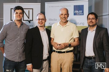 v.l.n.r.: Christoph Brenner (Head of Marketing Natives, Absolvent Media- u. Kommunikationsberatung), Harald Wimmer (Studiengangsleiter Master Media- u. Kommunikationsberatung), Hans-Georg Häusel (Psychologe u. Hirnforscher) und Helmut Kammerzelt (Studiengangsleiter Bachelor Media- u. Kommunikationsberatung)