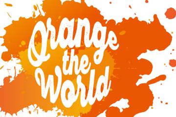 """Die FH nimmt an der UN Women Austria Aktion """"Orange the World"""" teil."""