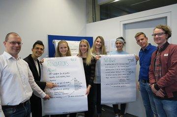 Studierende aus St. Pölten und Heidelberg zusammen mit Harald Wimmer (FH St. Pölten) und Sven Cravotta (Hochschule Heidelberg/Calw)