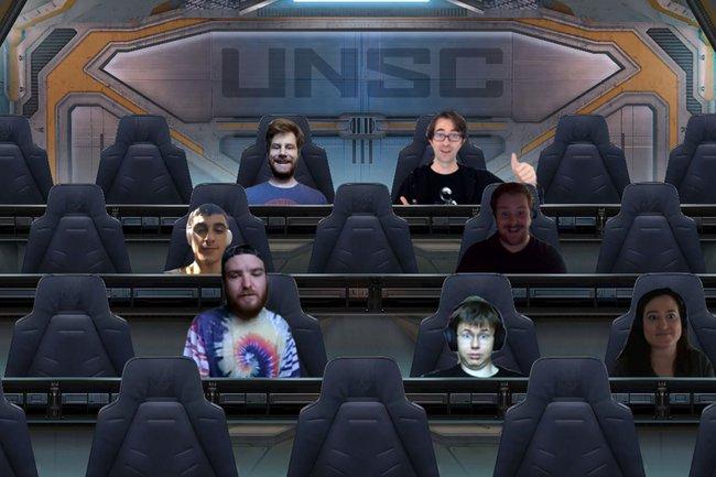 Fotomontage: 7 Studierende in einem Raumschiff
