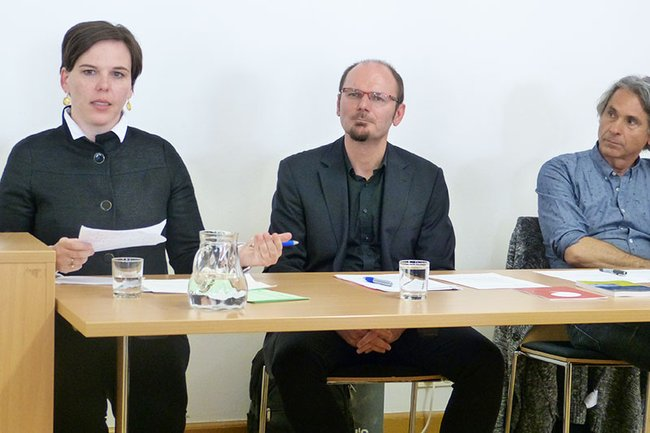 Dr. Angelika Hofhansl (Med. Uni Wien), Dr. Josef Weißenböck (FH St. Pölten), Prof. Rudolf Egger (Uni Graz) am Podium
