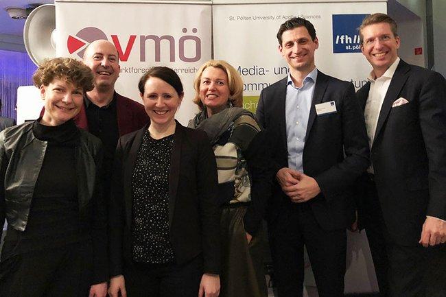 v.l.n.r.: Johanna Grüblbauer (FH St. Pölten), Robert Sobotka (VMÖ), Sandra Langschwert (NÖ Kulturwirtschaft), Karoline Sederl-Bartosch (Ipsos Wien), Markus Zimmer (BuzzValue), Florian Laszlo (Observer)