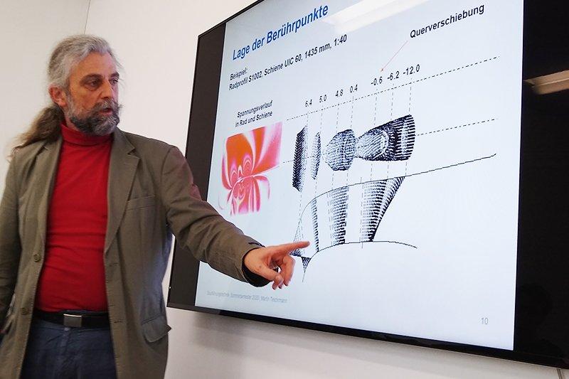 Martin Teichmann erläutert SpurführungstechnikSenior Expert bei Siemens Graz mit jahrzehntelanger Erfahrung im Bereich Fahrwerkskonstruktion und Forschung im Bereich Rad-Schiene-Technik.