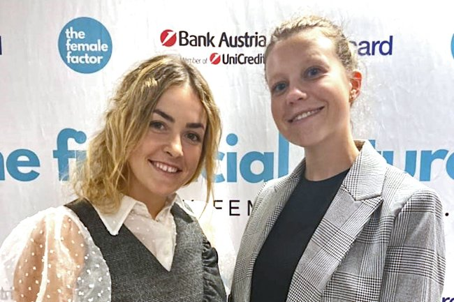 Das CPI-Team Rebecca Mayr und Alina Leitner bei Hacking Money im Talent Garden Vienna