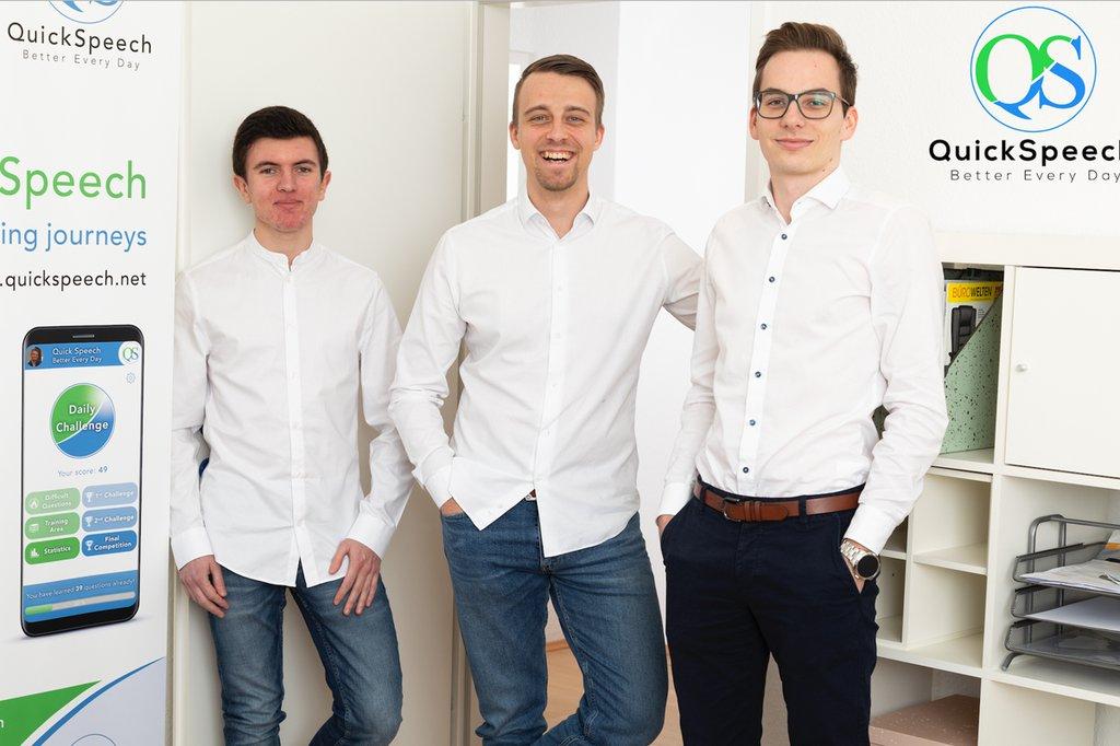 Das Quickspeech-Team: COO Christian Woltran, Gründer und CEO Lukas Snizek und CTO Patrick Riemer (vlnr.).