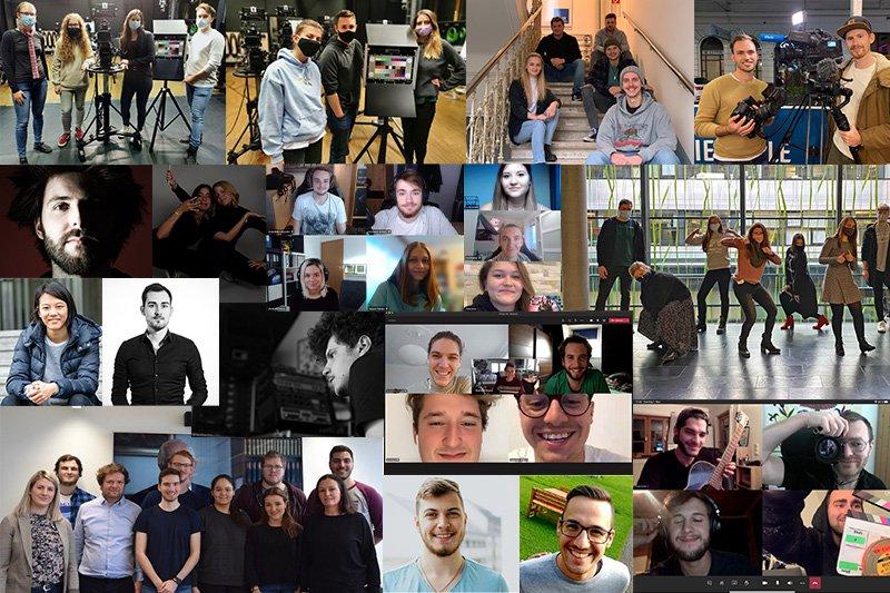 Collage aus verschiedenen Fotos von Studierenden