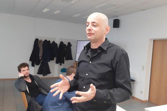 Christian Schafferer bei seinem Vortrag an der FH St. Pölten