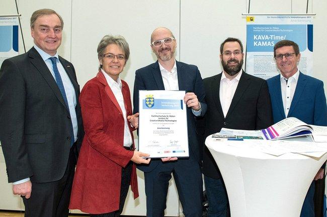Project KAVA-Time: Christian Moser (Vice President WKNÖ), Provincial Petra Bohuslav, Wolfgang Aigner and Alexander Rind (St. Pölten UAS), Erwin Krammer (Deputy Mayor of Krems)