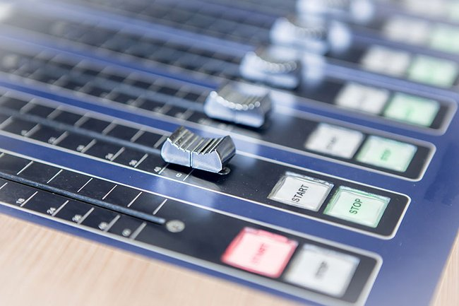 Detail: mixing console of the campus radio