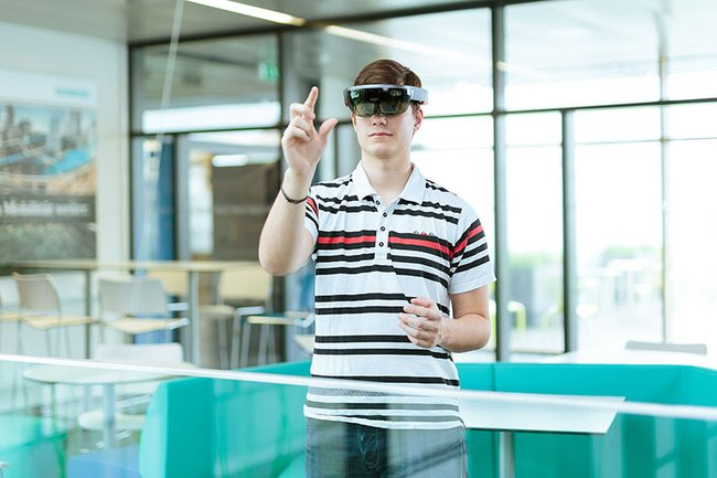 Testing out the HoloLens at the St. Pölten UAS