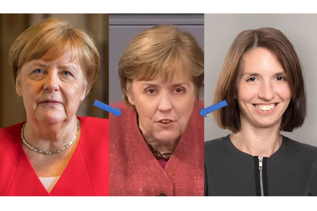 """Copyright: picture on the left: Raimond Spekking; picture in the middle: deepfake created by students of the St. Pölten UAS based on: """"Notbremse – Bundeskanzlerin Angela Merkel im Bundestag am 16.04.21"""" https://www.youtube.com/watch?v=gJbcyaw38Yo (phoenix.online) and visual material of Marlies Temper (St. Pölten UAS); picture on the right: St. Pölten UAS"""